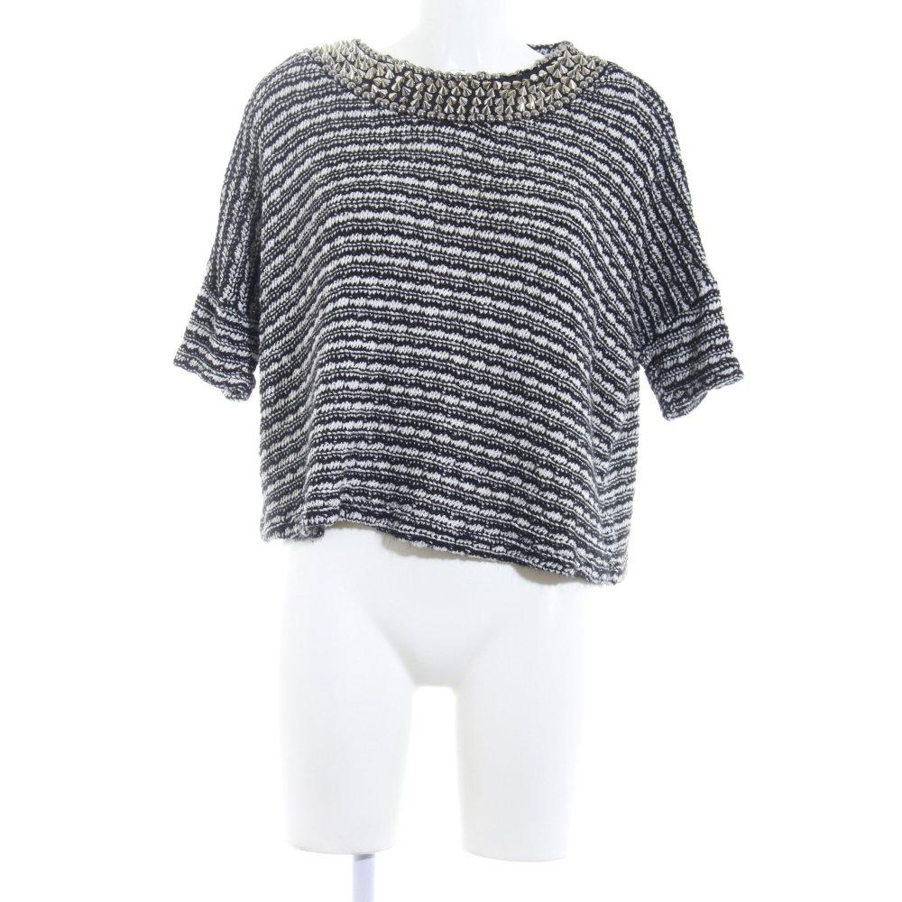 Detalles de ZARA TRAFALUC Camisa tejida negro blanco moteado Remaches Mujeres Talla EU 38