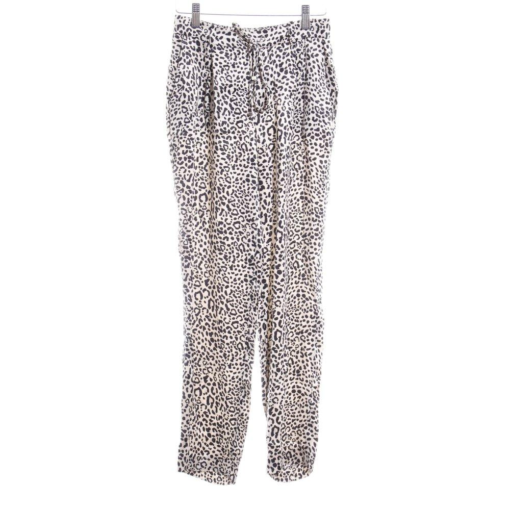 Detalles de ZARA WOMAN Pantalón de pinza crema negro estampado de leopardo estampado animal