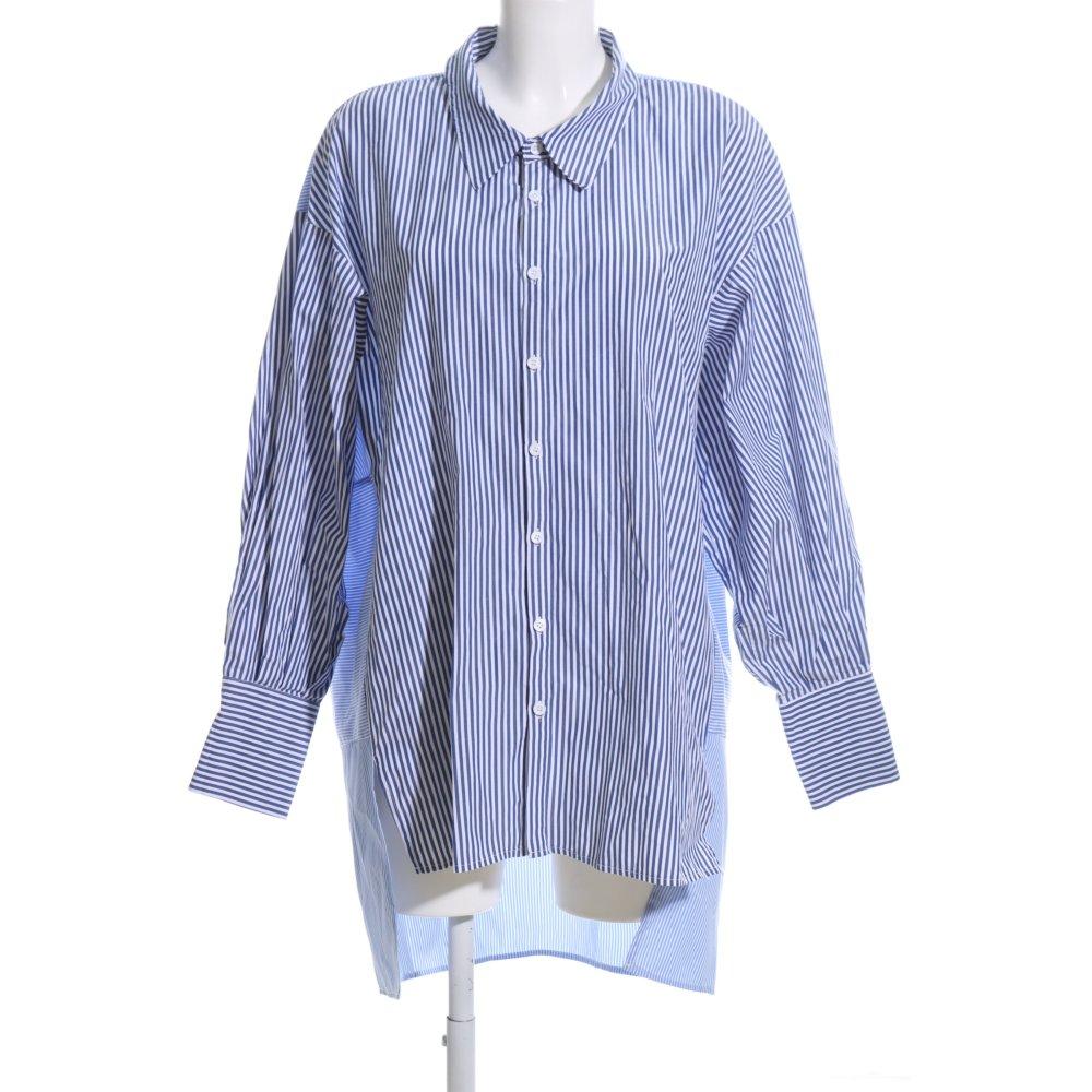 Detalles de ZARA WOMAN Blusa ancha azul blanco estampado a rayas estilo «business» Mujeres
