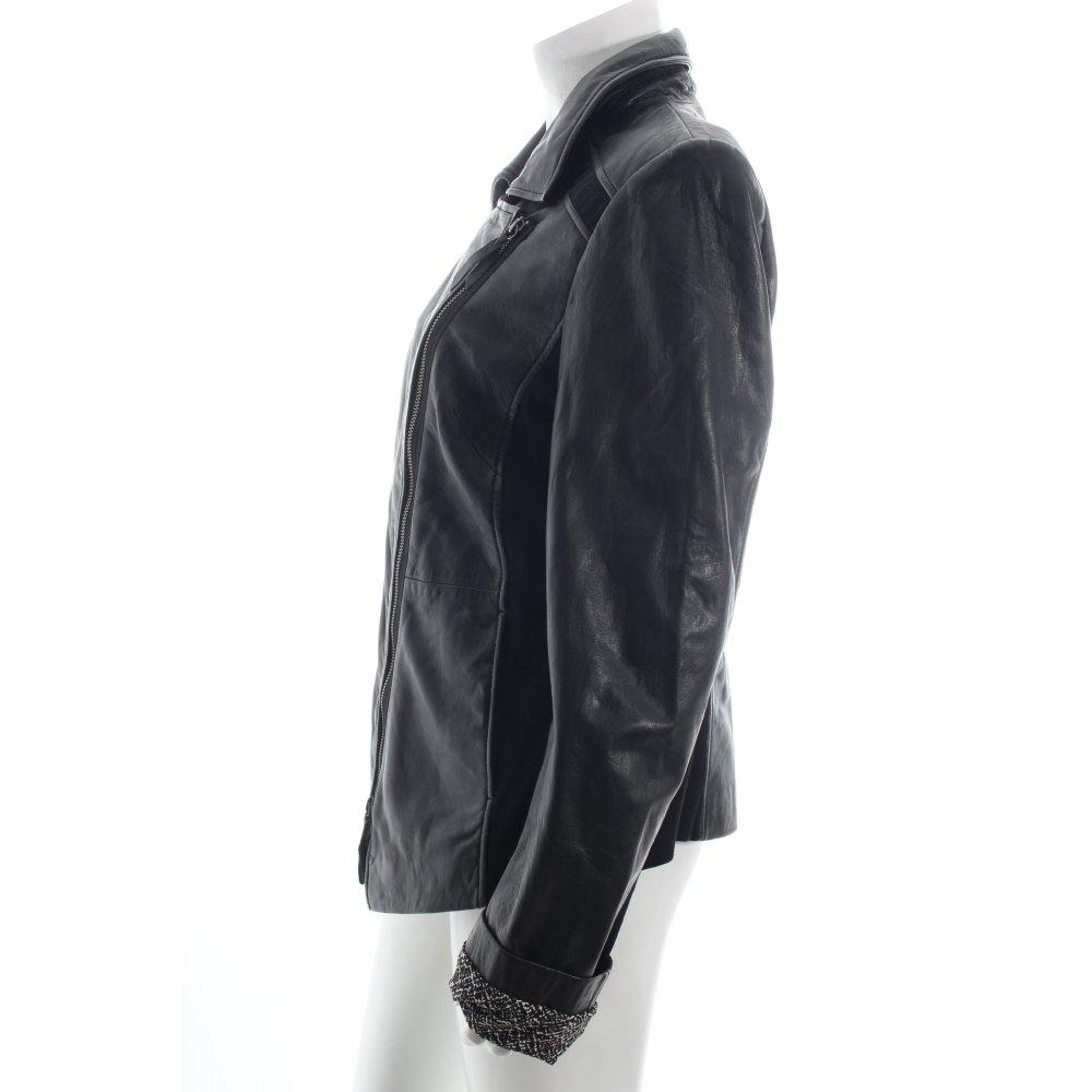 zero lederjacke schwarz biker look damen gr de 42 jacke. Black Bedroom Furniture Sets. Home Design Ideas
