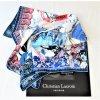 """Orig. Christian Lacroix Seidentuch """" Le Monde""""/weiß-blau-rot/65cm X 65 cm/NEU!"""
