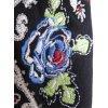 schwarzes Sweatshirt mit Stickereien Blumenstickereien