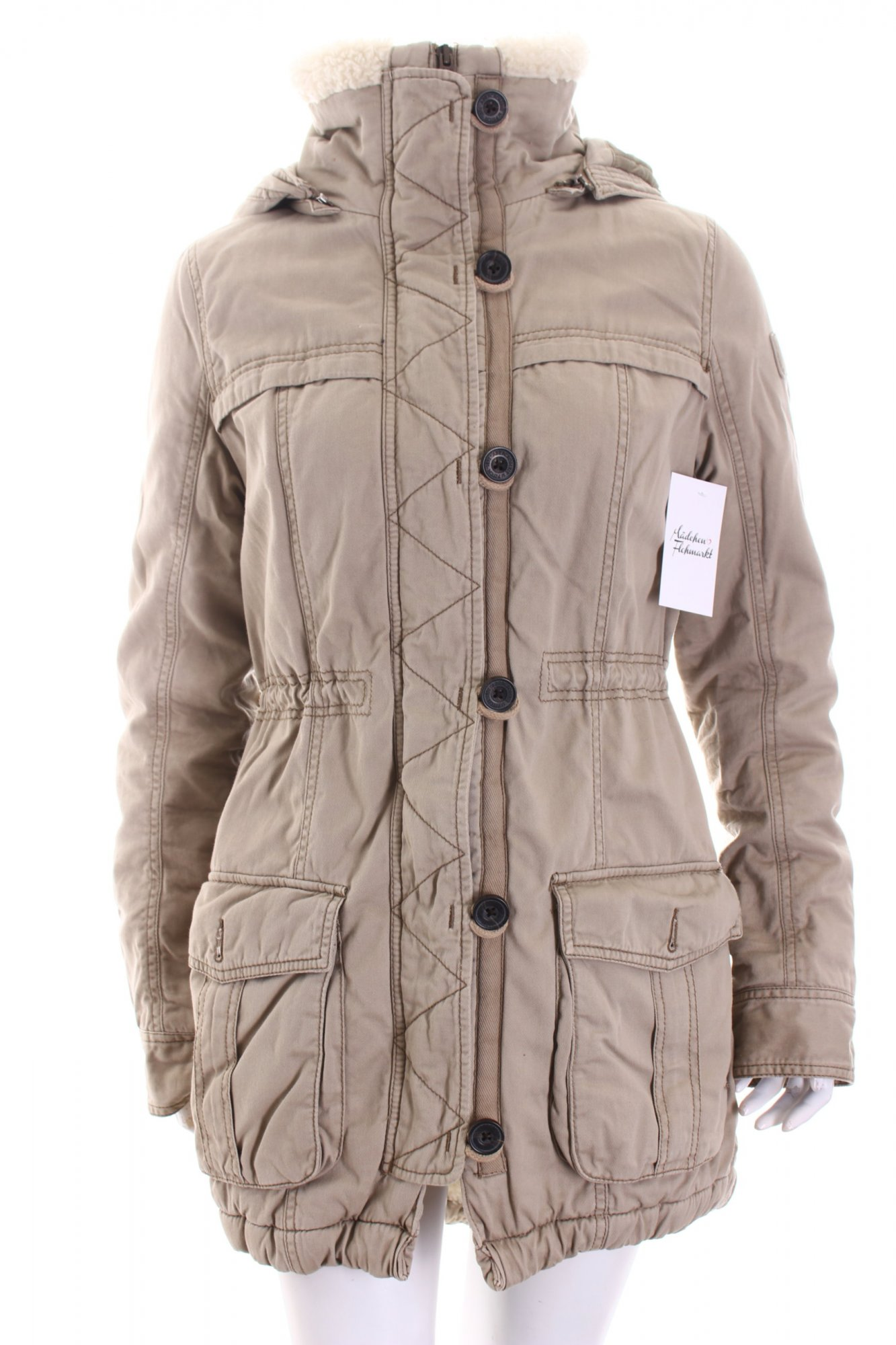 abercrombie fitch parka beige klassischer stil damen gr. Black Bedroom Furniture Sets. Home Design Ideas