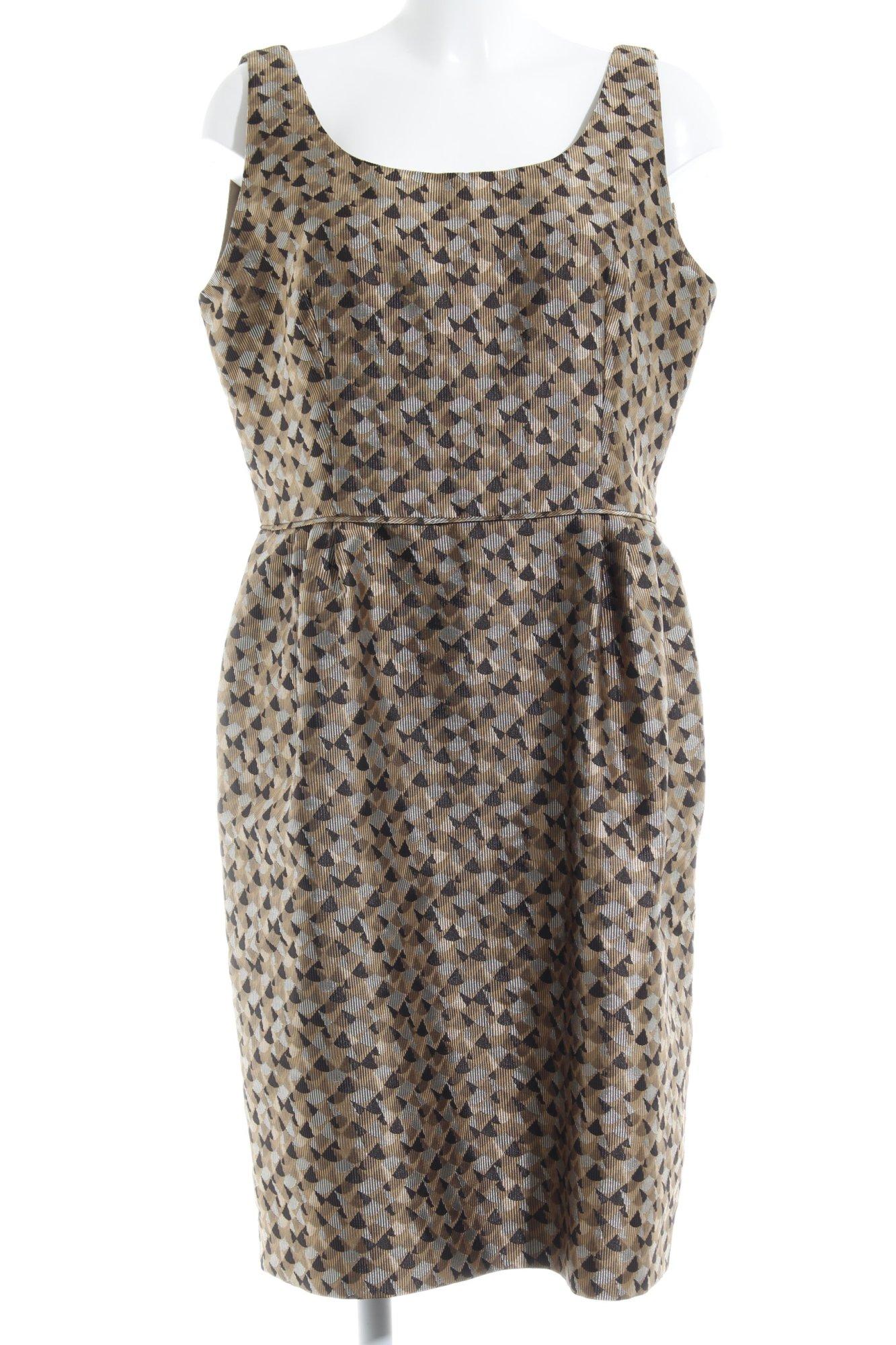 ARMANI Ballonkleid abstraktes Muster Elegant Damen Gr. DE 50 silberfarben Kleid