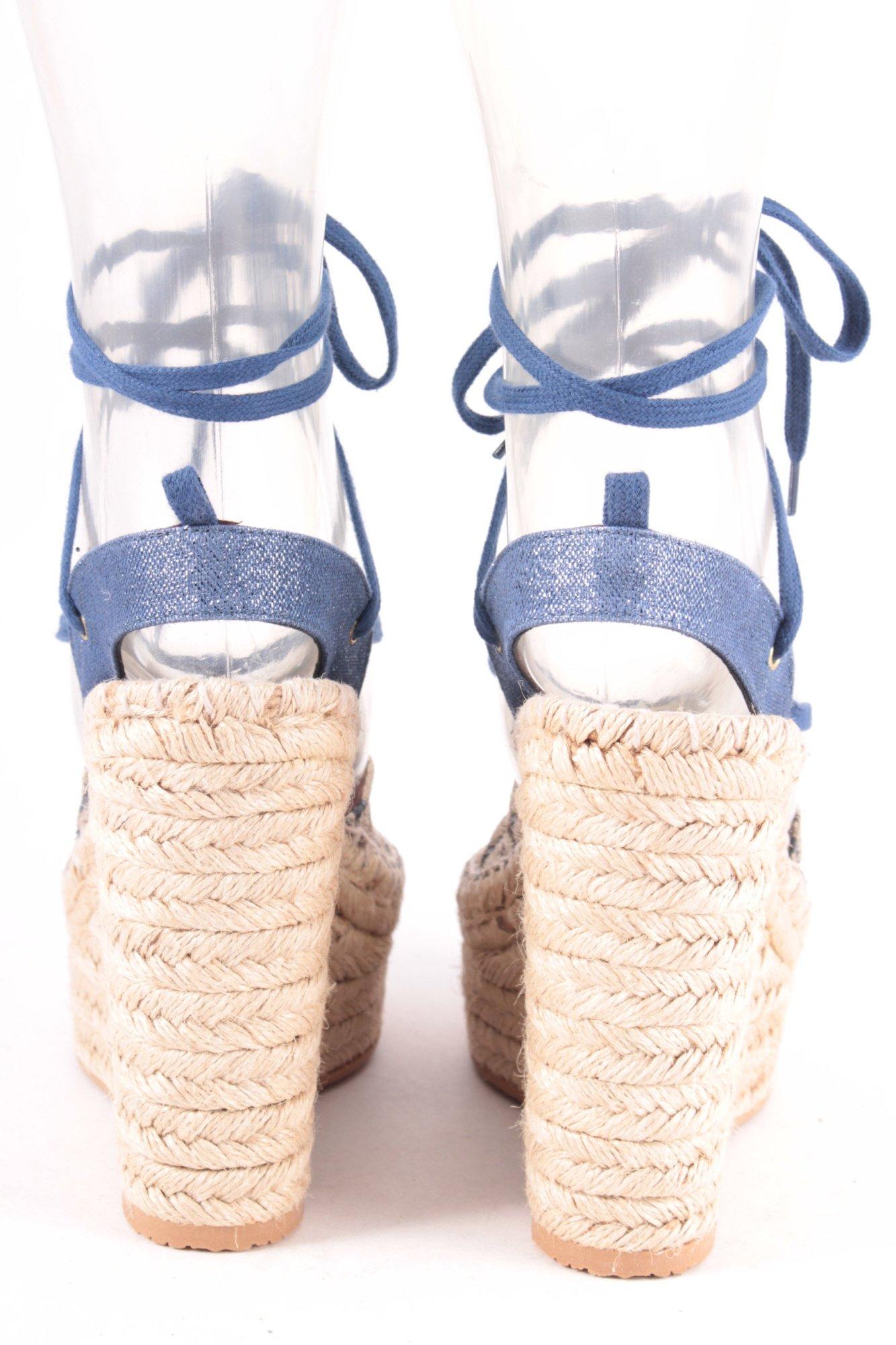 ASH Wedges Sandaletten Sandaletten Wedges blau-creme extravaganter Stil Damen Gr. DE 39 Damenschuhe 6fc883