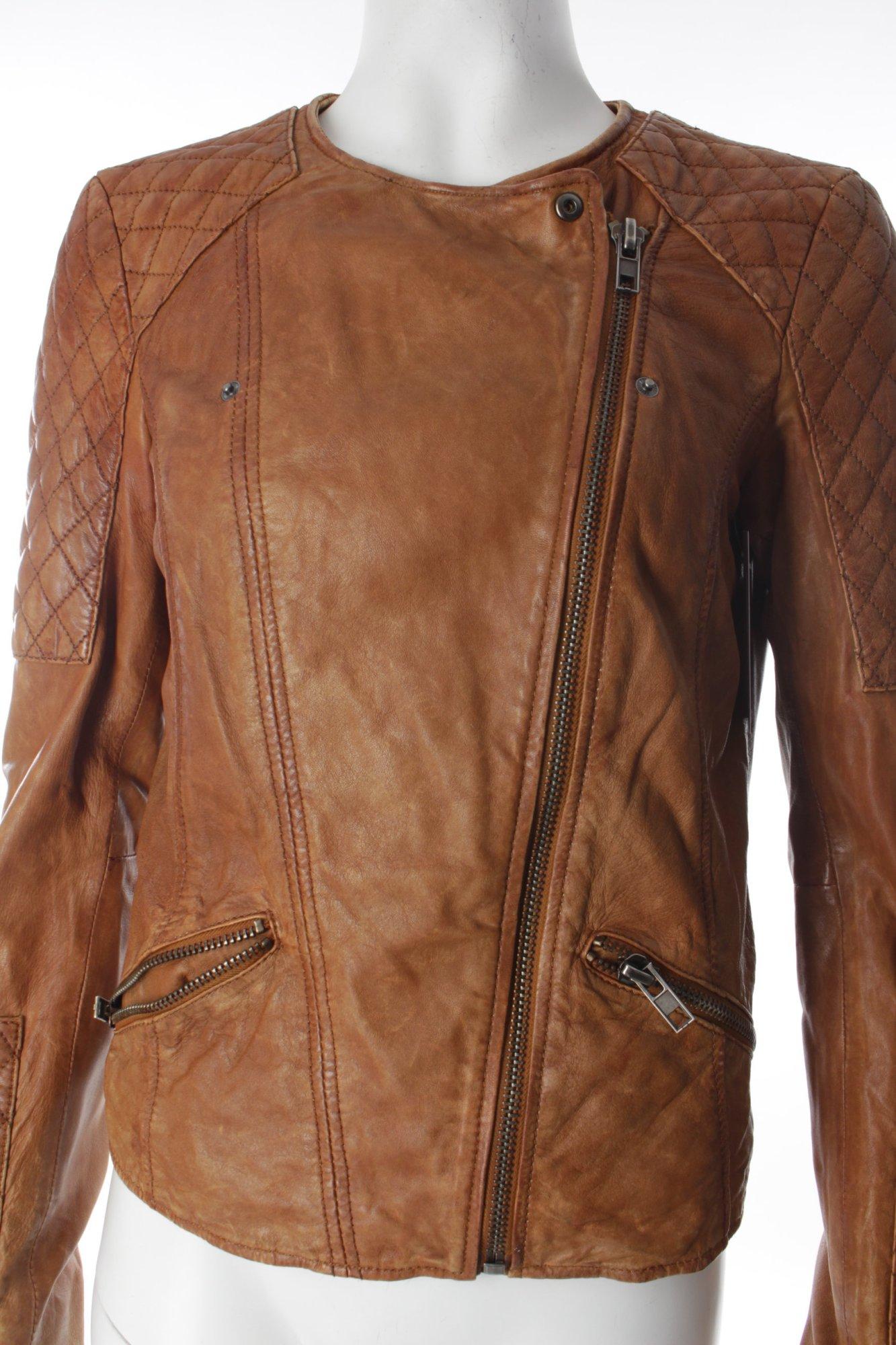 esprit lederjacke cognac biker look damen gr de 36 jacke jacket leder ebay. Black Bedroom Furniture Sets. Home Design Ideas