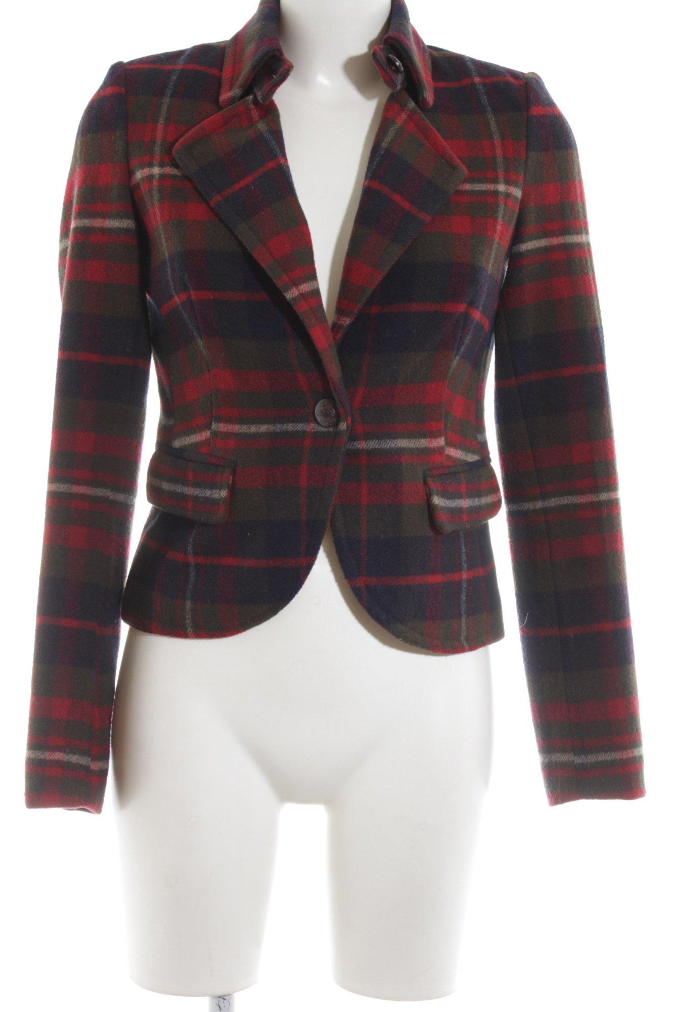 finest selection daa0f 9531c Dettagli su ESPRIT Blazer in lana blu-rosso motivo a quadri stile  professionale Donna
