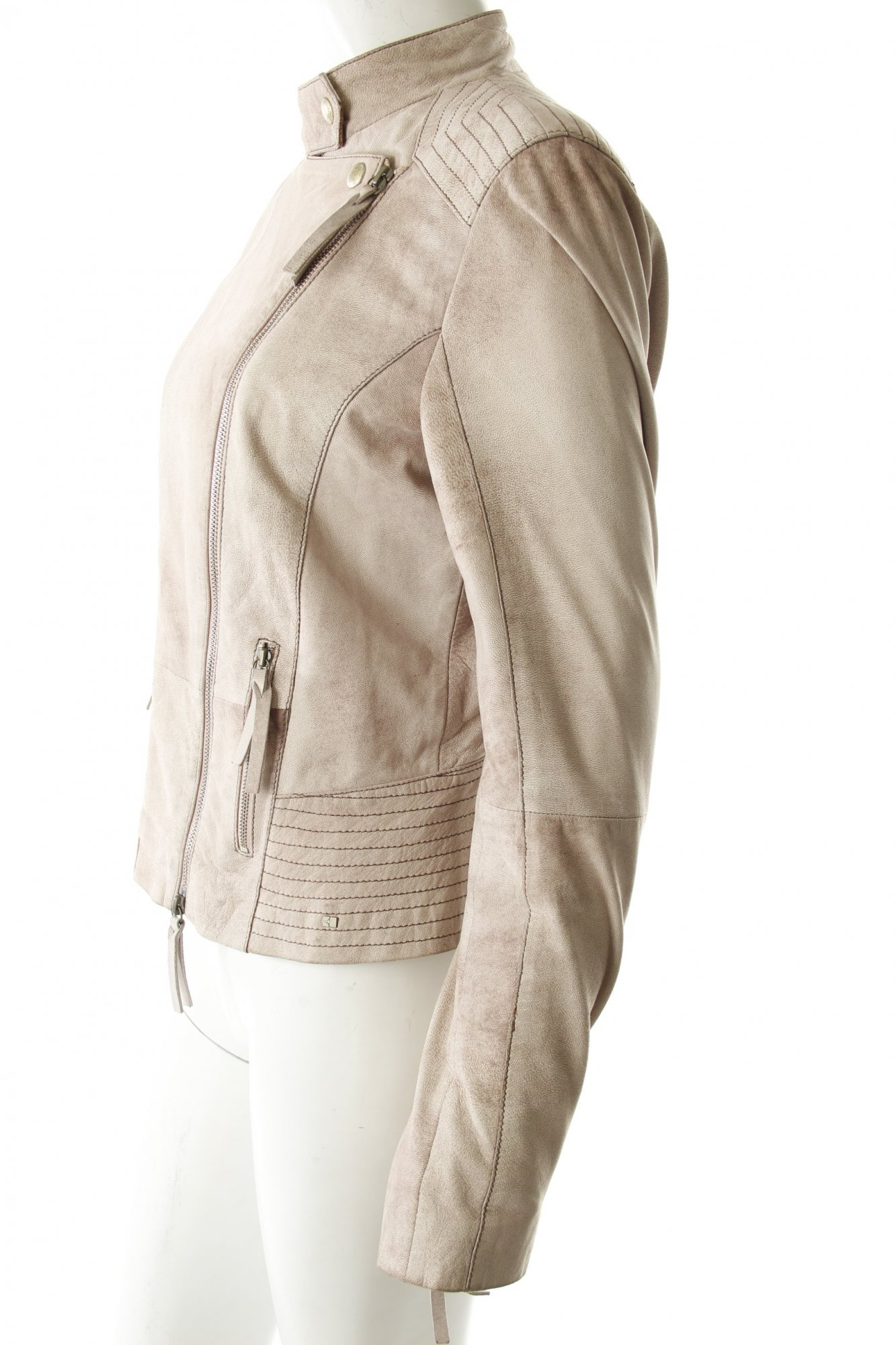 HUGO-BOSS-Leather-Jacket-beige-Band-ornaments-Women-s-Size-UK-10