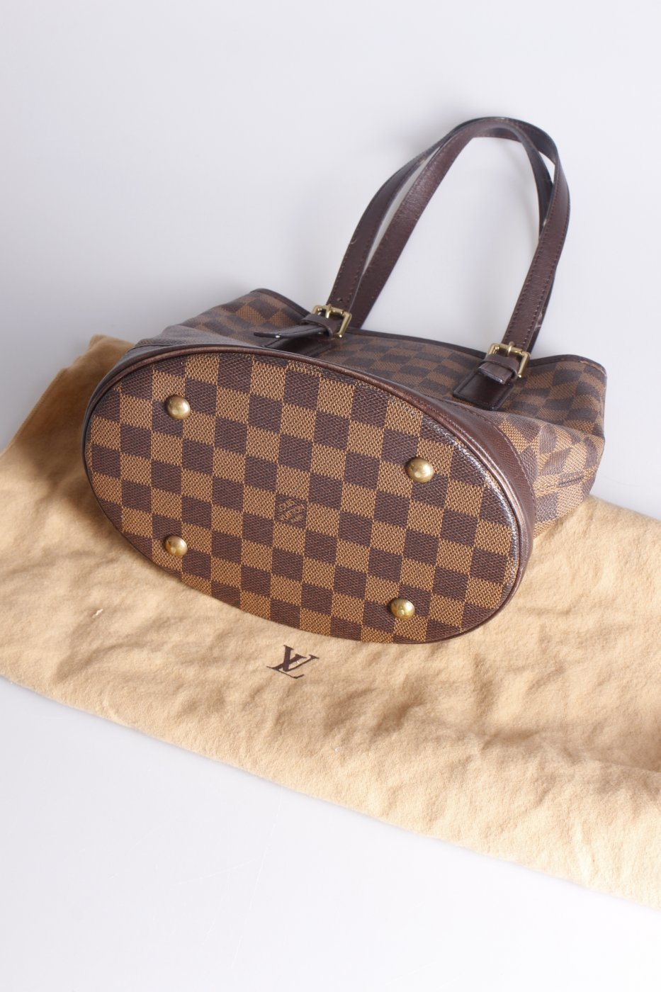 louis vuitton damier bucket henkeltasche damen bronze tasche bag tote ebay. Black Bedroom Furniture Sets. Home Design Ideas