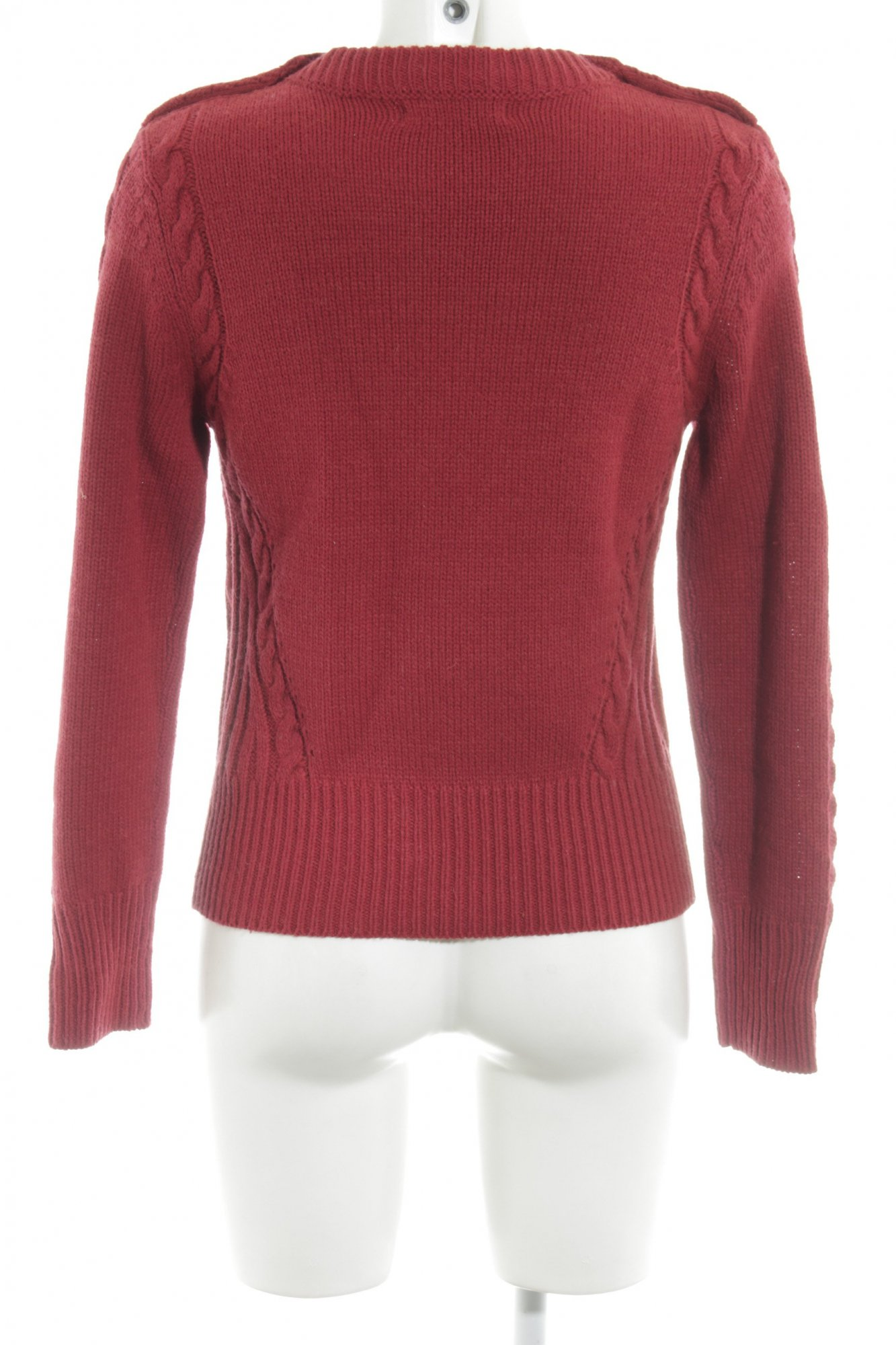 sports shoes 26ffb dc4ca Details zu M&S Strickpullover rot Zopfmuster Casual-Look Damen Gr. DE 36  Pullover Sweater