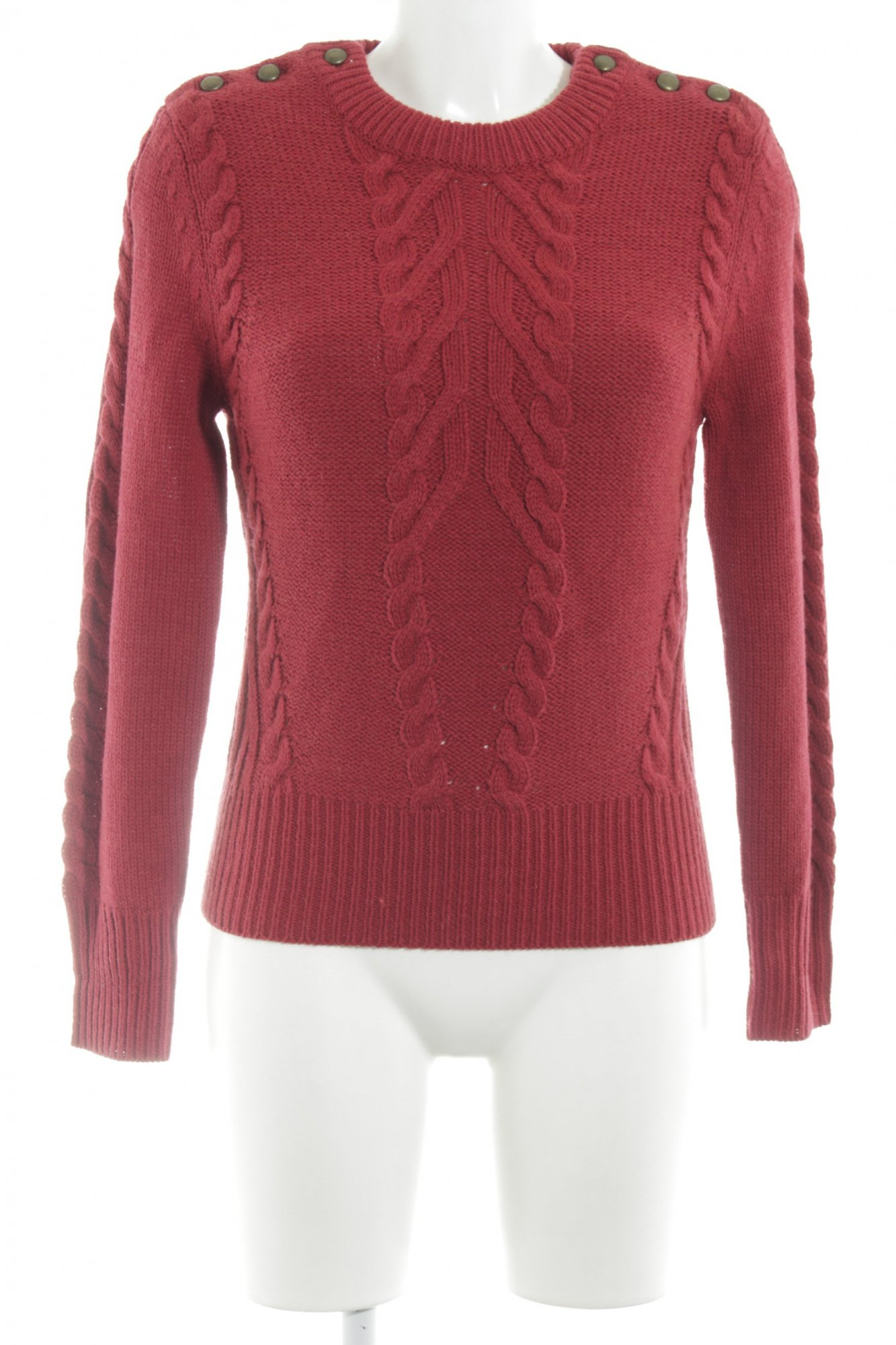 sports shoes 5fa50 66b88 Details zu M&S Strickpullover rot Zopfmuster Casual-Look Damen Gr. DE 36  Pullover Sweater
