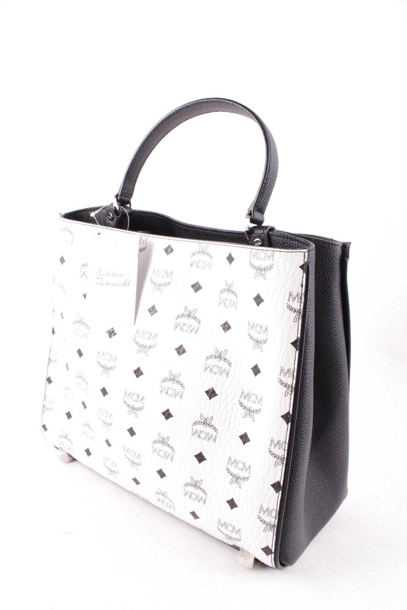 mcm handtasche corina visetos shoulder bag medium white damen wei tasche ebay. Black Bedroom Furniture Sets. Home Design Ideas