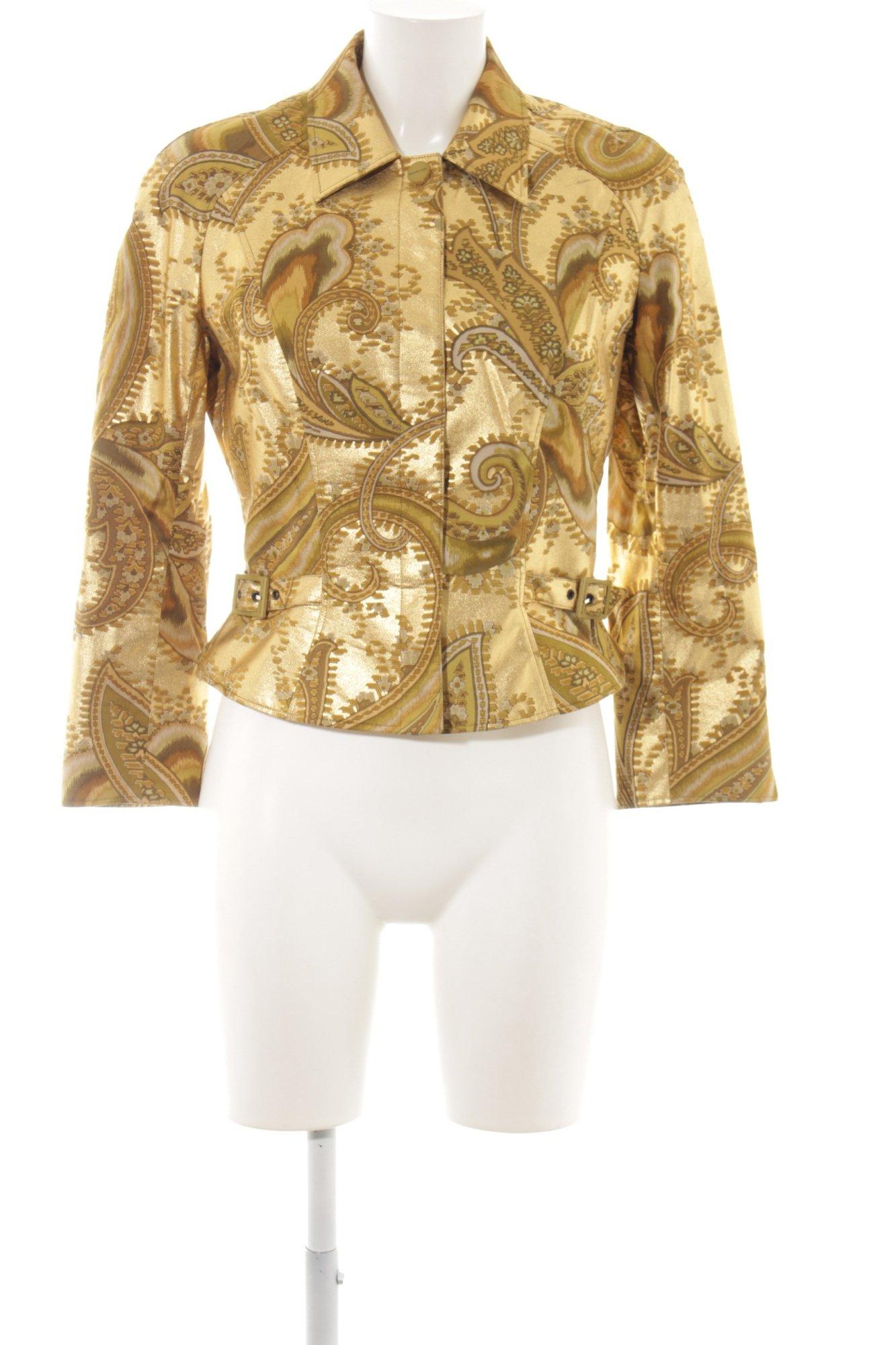 brand new 9e1c8 82257 Dettagli su MUGLER Giacca corta oro motivo astratto stile stravagante Donna  Taglia IT 44