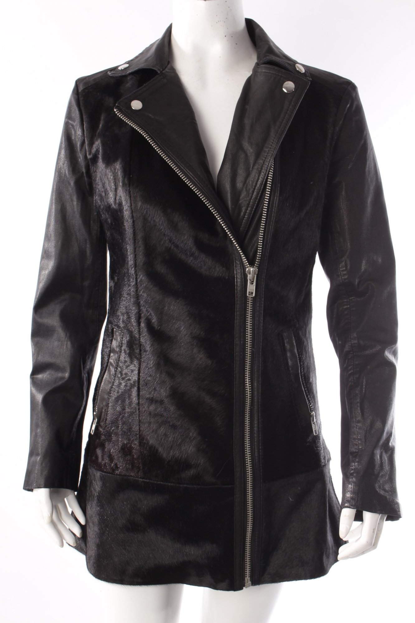 muubaa bikerjacke mit fell damen gr de 36 schwarz jacke. Black Bedroom Furniture Sets. Home Design Ideas