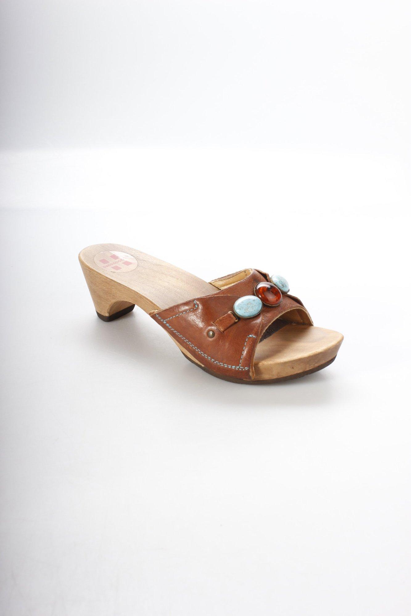 SWISSOCCOLI-Clog-Sandalen-mehrfarbig-Boho-Look-Damen-Gr-DE-37-braun-Sandals