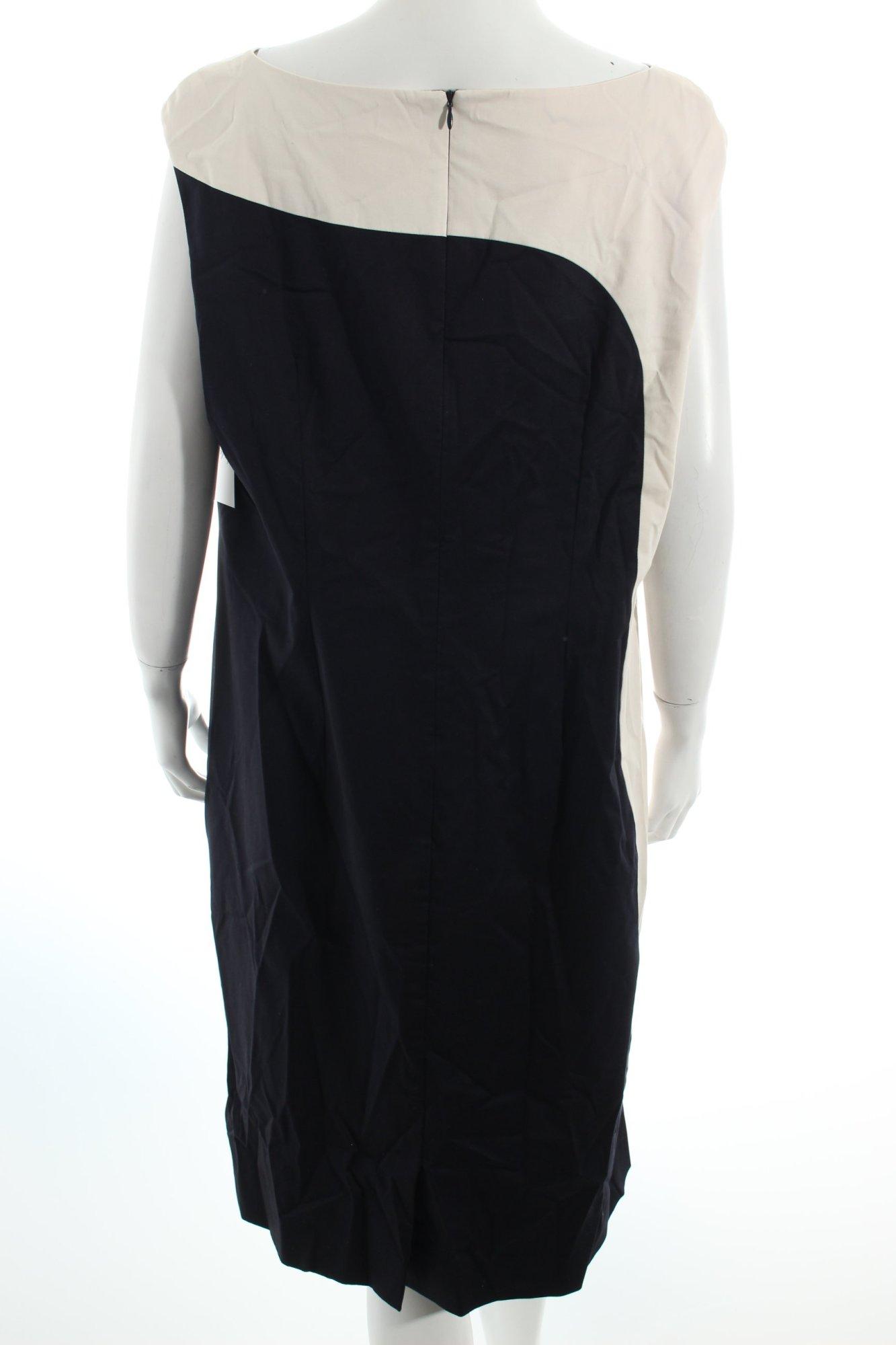 vera mont etuikleid schwarz creme colourblocking klassischer stil damen kleid ebay. Black Bedroom Furniture Sets. Home Design Ideas
