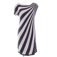 Comma Strickkleid dunkelblau-beige Streifenmuster Casual-Look