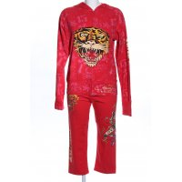 Ed Hardy Jersey Twin Set rot Motivdruck Casual-Look