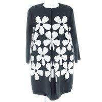 Hallhuber Kostüm schwarz-silberfarben florales Muster Brit-Look