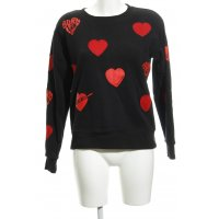 Maison Scotch Sweatshirt schwarz-rot Herzmuster Casual-Look