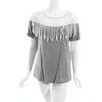 Object Shirt hellgrau-weiß Boho-Look
