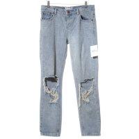 One x Oneteaspoon High Waist Jeans blassblau-hellgrau Street-Fashion-Look