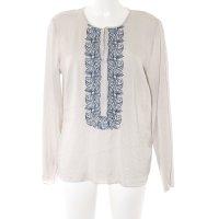 Windsor Langarm-Bluse hellbeige-dunkelblau abstraktes Muster Casual-Look