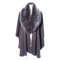 World of Accessories Strickponcho hellgrau meliert Casual-Look