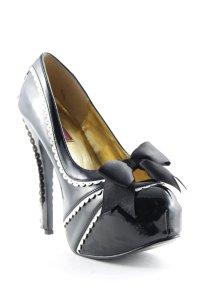 Bordello High Heels schwarz-weiß Lack-Optik
