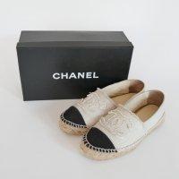 Chanel Espadrilles Schuhe 38 OVP Schwarz Creme