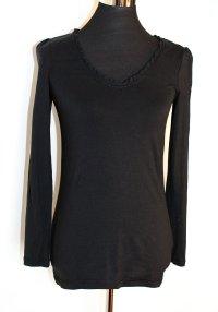 EDC by Esprit Longsleeve Baumwolle mit Rüschenrand, schwarz, S wie 36