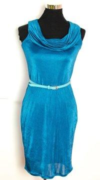 ESPRIT Collection Edles knielanges schmales Kleid mit Wasserfall-Ausschnitt XS wie 34/36