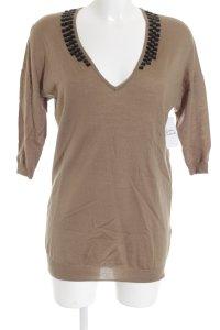 H&M V-Ausschnitt-Pullover hellbraun-schwarz klassischer Stil