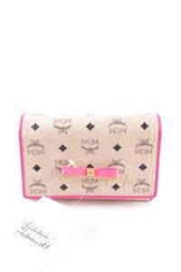 "MCM Geldbörse ""Mina Visetos Fold Medium Wallet Creme/Pink"""