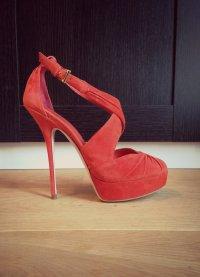 Neue 600€ Luxus High Heels/ Plateu Sandaletten von Sebastian rot Gr.39/40 14cm!