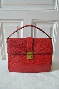 PRADA Damen Tasche Handtasche Henkeltasche Leder Rot Lila Henkel Innenfächer