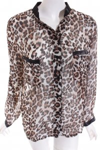 Queens Transparenz-Bluse Leomuster Party-Look