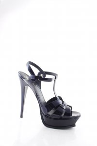 Saint Laurent High Heel Sandaletten dunkelblau Lack-Optik