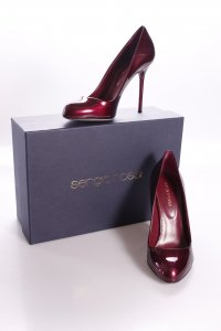 Sergio Rossi High Heels bordeaux metallic