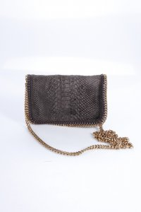Stella McCartney Clutch Velvet Bronze Brown Pythonoptik