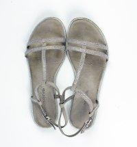 Tamaris Leder Riemchen Sandale Grau mit Glitersteinchen, gepolsterte Sohle, Gr. 39