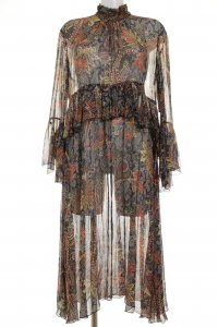Zara Woman Chiffonkleid abstraktes Muster 70ies-Stil