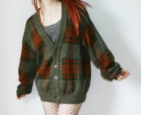 Vintage Oversized Strickjacke Cardigan Blogger Hipster braun-orange