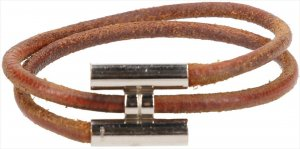 0019 Hermès Tournis Armband aus Leder in den Farben Braun und Palladium