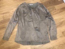0039 Italy Blouse avec noeuds gris brun soie