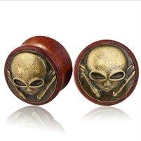 Boucle d'oreille incrustée de pierres bronze-brun