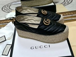 Gucci Mocassins zwart-camel Leer