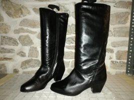 Laarzen met hak zwart-cognac Leer
