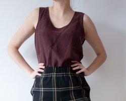 Top in seta marrone-rosso Seta