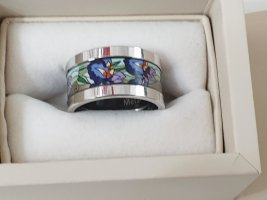 Freywille Złoty pierścionek niebieski-srebrny